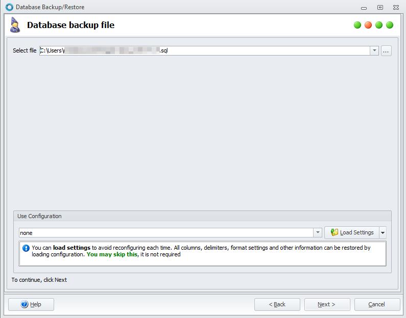 Backup database file