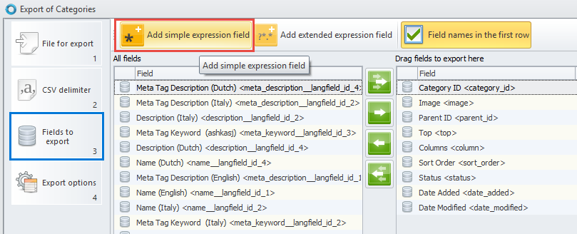 Add simple expression field
