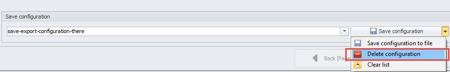 Delete configuration