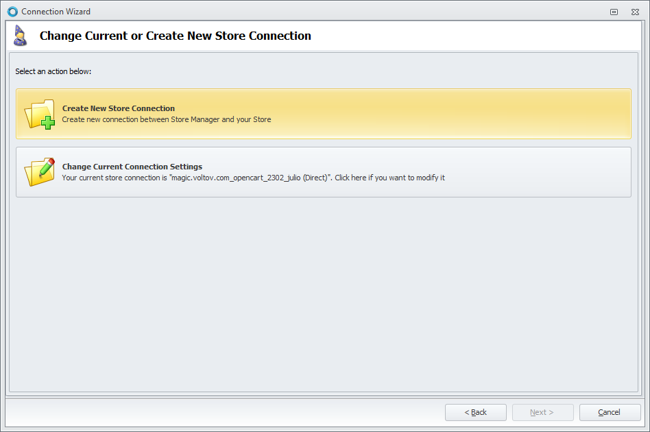 Create New Store Connection