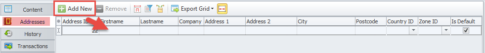 Add address button