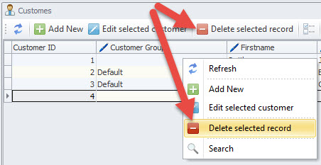 Delete selected options