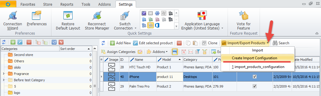 Create Import Configuration command