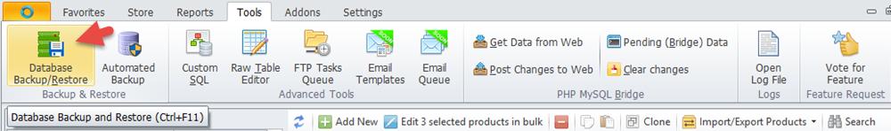 Backup database option