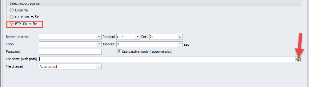 File to import from FTP