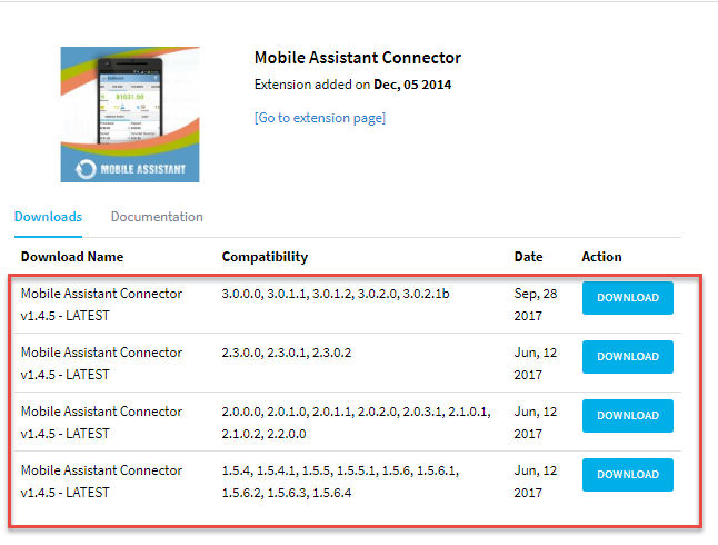 Mobile Assistant Connector versions