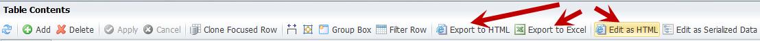 Raw table editor options