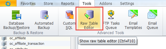 Raw table editor section