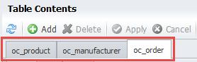 Raw table editor tabs