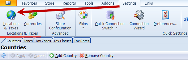 Locations and Taxes toolbar
