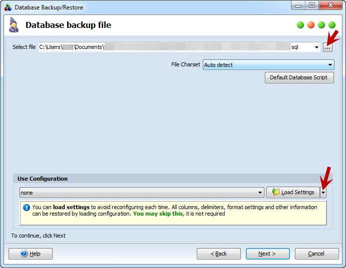 Specify database backup file