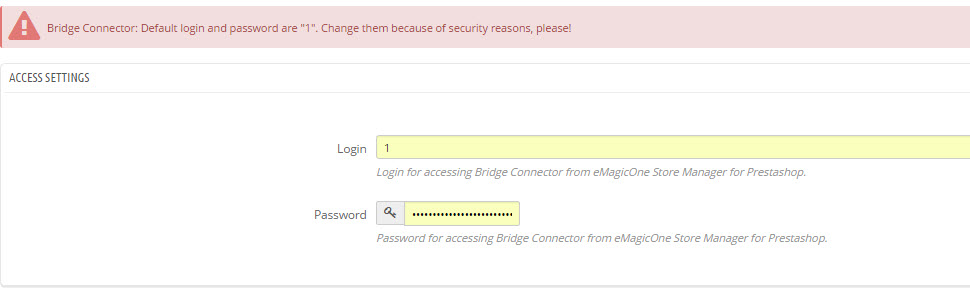 Change default bridge credentials