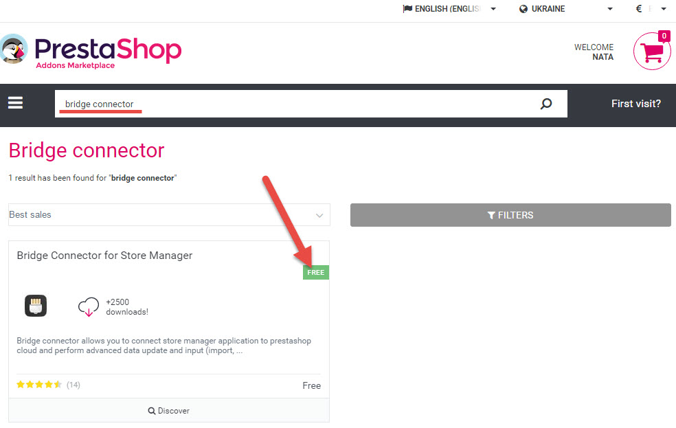 Search module in the Prestashop Cloud store