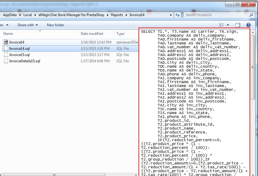 SQL File in Reports