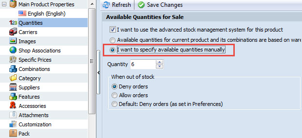 Specify quantity manually