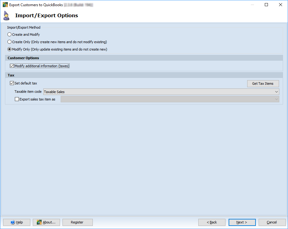 Import/Export Options step