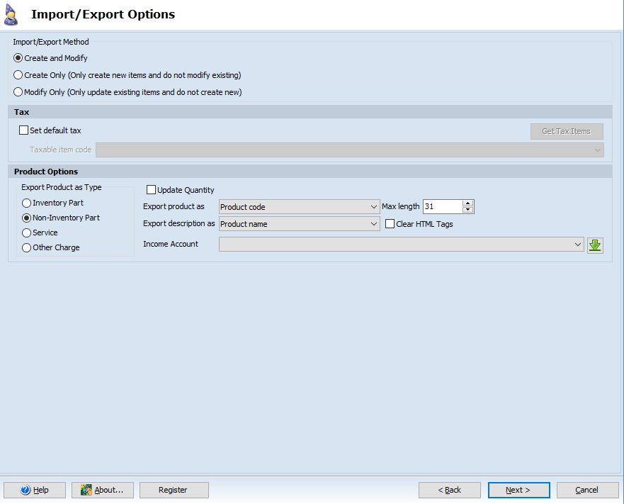 Import/Export Options page