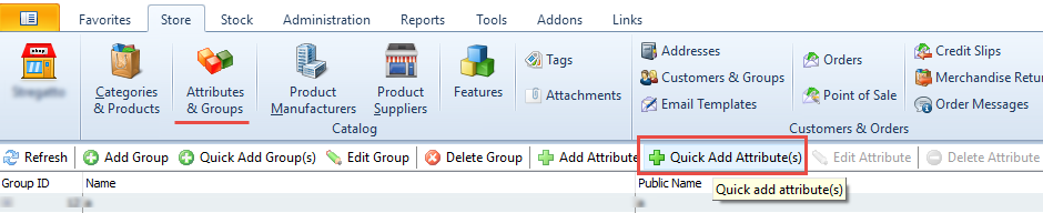 Quick add attributes button