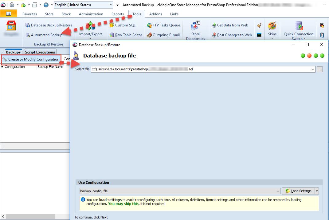 Automated backup - Create & Modify option