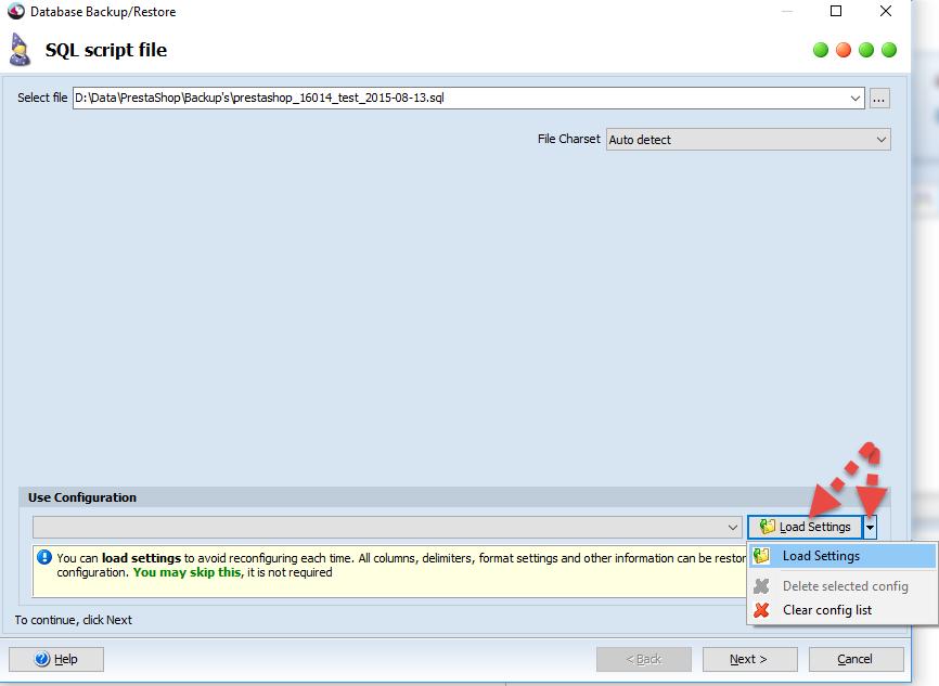 Load settings in SQL Script File step