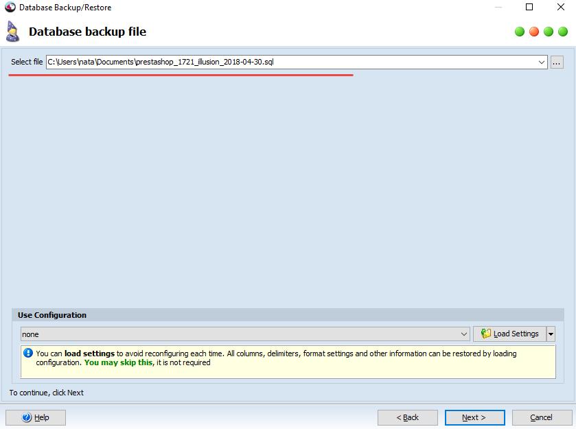 Database backup file