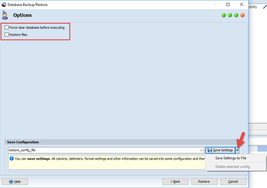 Restore database options