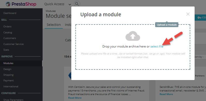 Select file for uploading
