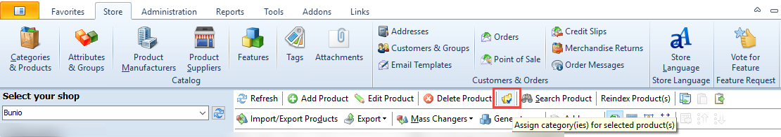 Assign categories option in the top toolbar