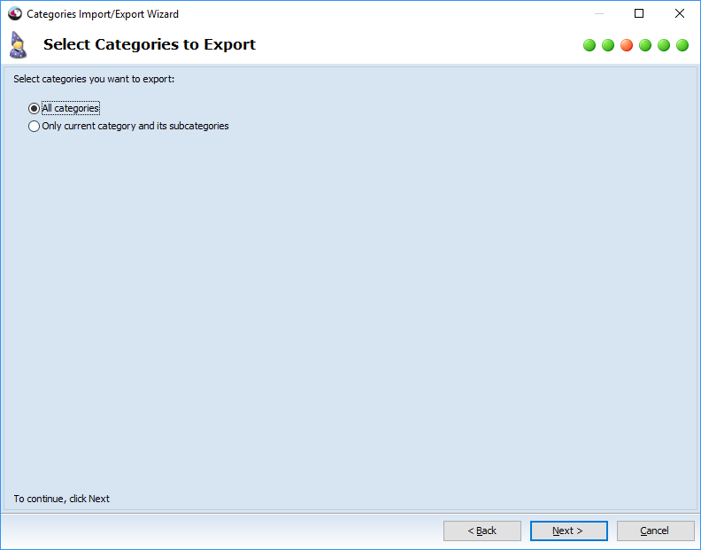 Select categories to export
