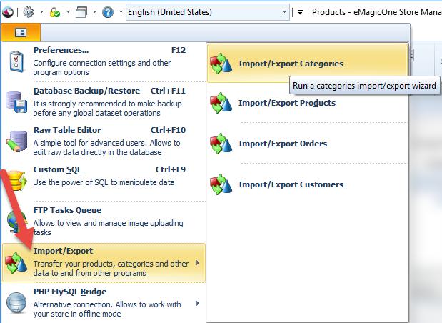 Import/export categories