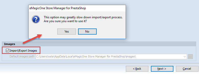 Import/export categories images checkbox