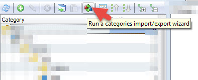 Run import/export categories wizard