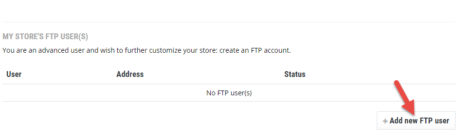 Add new FTP User
