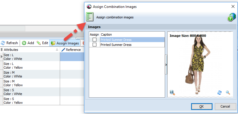 Assign combination image