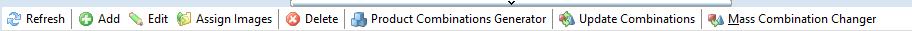 Combinations toolbar