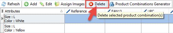 Delete combination option