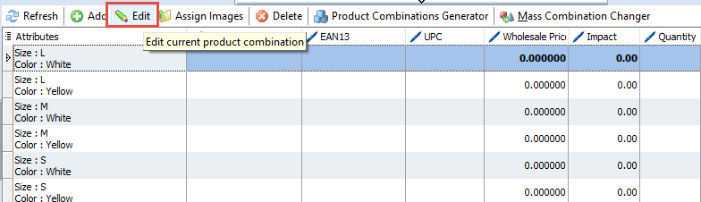 Edit combination button