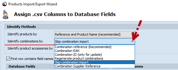 Identify combination by//drop-down list
