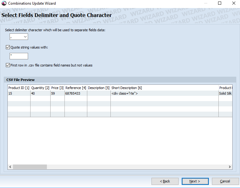Select fields delimiter and quote character
