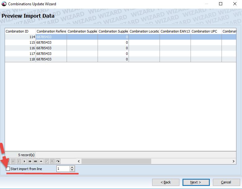 Start import form row