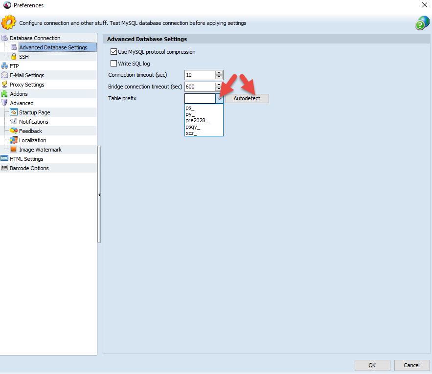 Advanced Database Settings