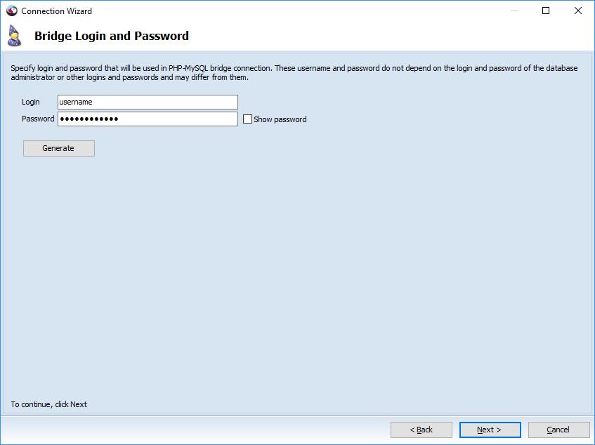 Bridge Login and Password