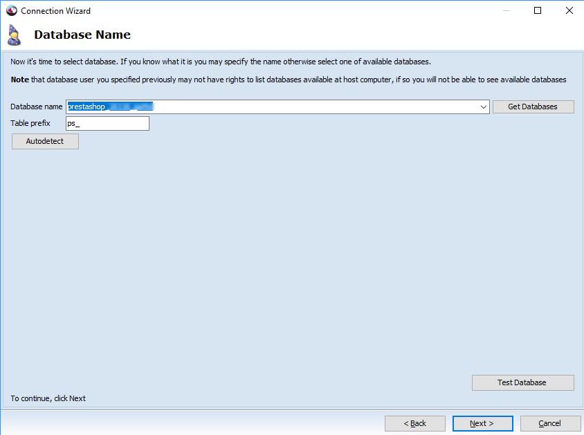 Database name step