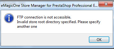 FTP store root directory invalid