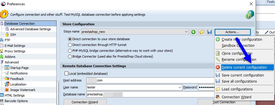 Delete configuratiion