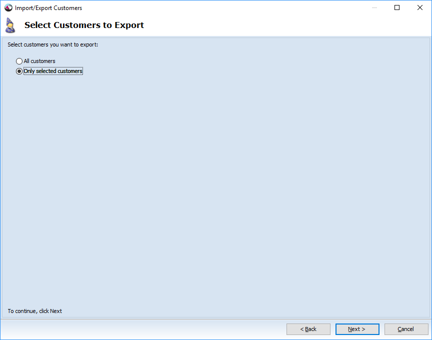 Select Customers to Export