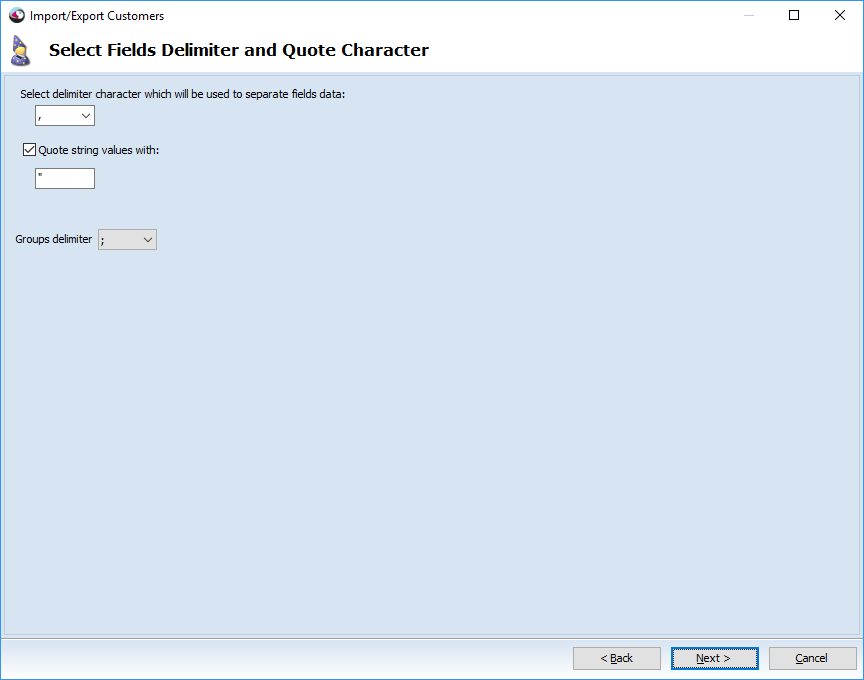 Select fields delimiter and quote charecter