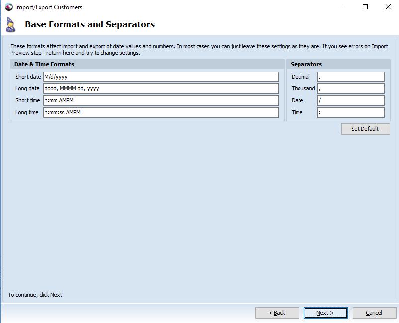 Base formats step