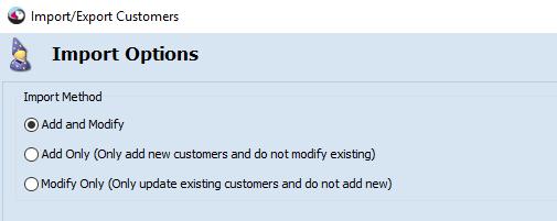 Import options list