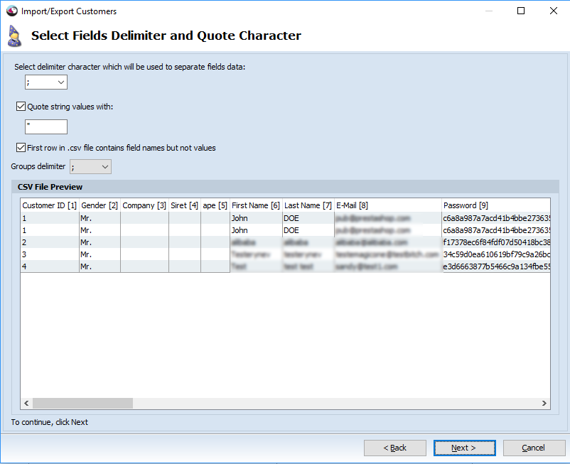 Select fields delimiters step